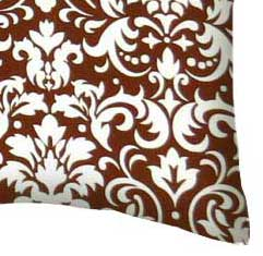 Percale Pillow Case - Brown Damask