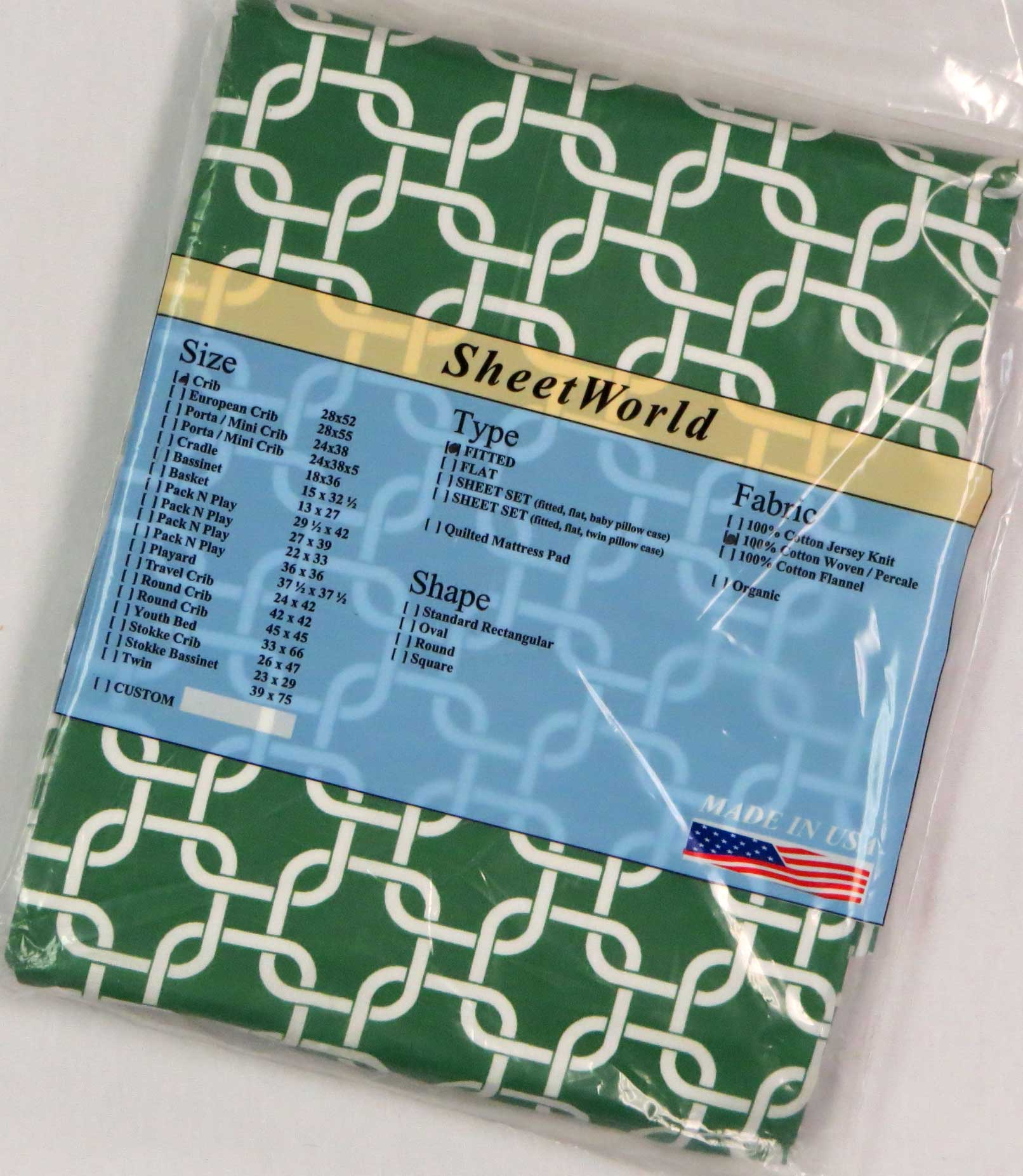 Green Links Cotton Crib Sheet - 28 x 52