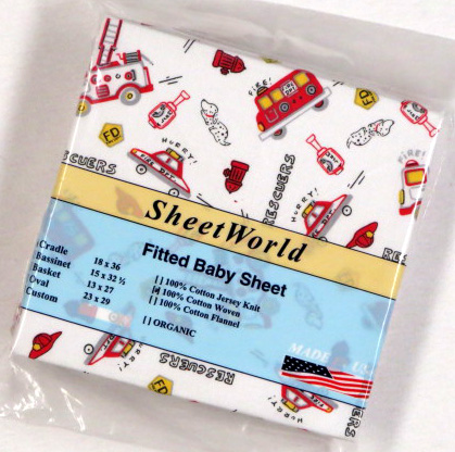 Fire Trucks Rescuers Cotton Woven Cradle Sheet 18x36