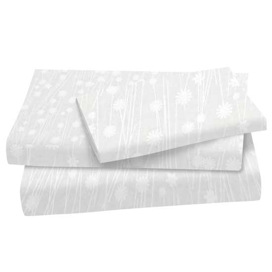 White On White Floral Stems Cotton Woven Twin