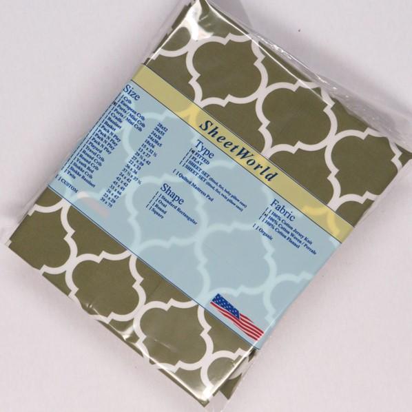 Green Quarterfoil Cotton Woven Portable / Mini Crib Sheet - 24 x 38