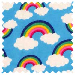 Rainbows Blue Fabric