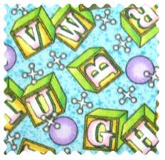 Fabric Shop - ABC Blocks Blue Fabric - Yard - 100% Cotton Flannel - Flannel Fabric Shop