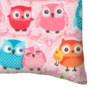 Flannel Pillow Case - Owls Pink