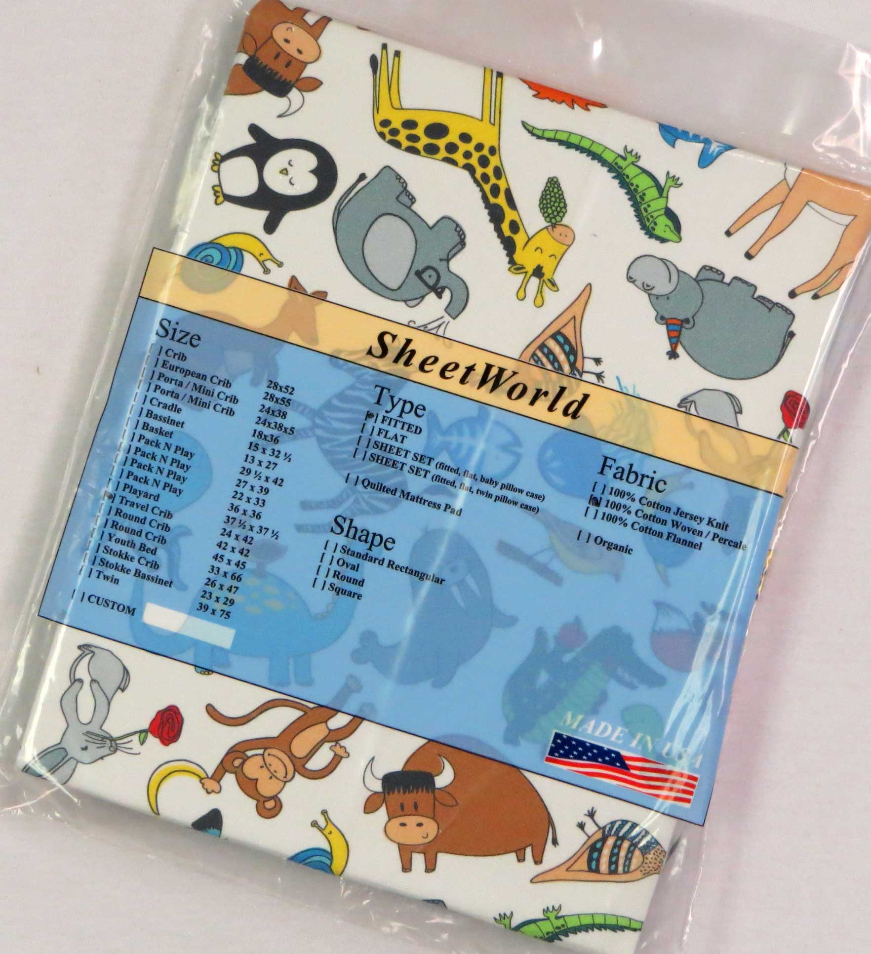 Jungle Animals Cotton Percale Travel Lite Playard Sheet - Fits BabyBjorn 24 x 42