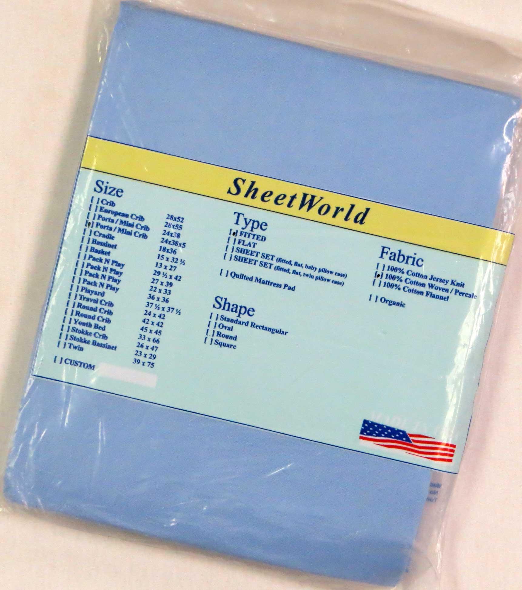 Solid Blue Cotton Portable / Mini Crib Sheet - 24 x 38 x 5