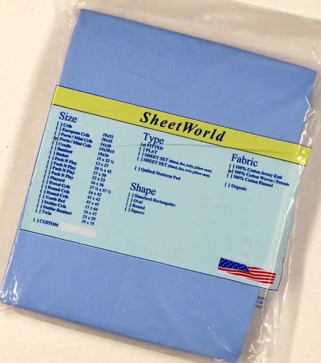 Solid Blue Extra Deep Cotton Portable / Mini Crib Sheet - 24 x 38 x 5.5