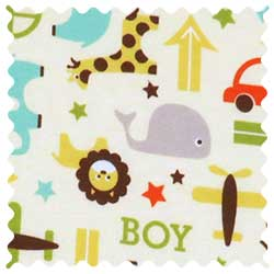 Cars & Animals Cream Fabric