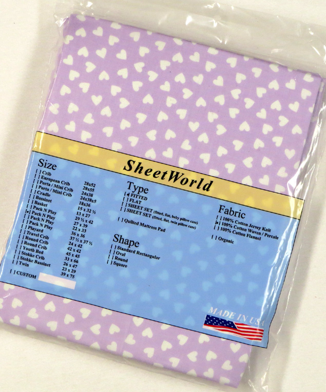 Hearts Lavender - Cotton Fitted Pack N Play Sheet - Fits Graco - 27 x 39