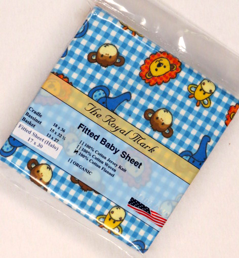 Baby Animals Blue Check Flannel Bassinest Sheet (Fits Halo)