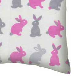 Flannel Pillow Case - Girls Bunny Rabbits