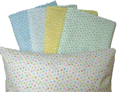 Percale Pillow Cases - Pastel Stars Collection