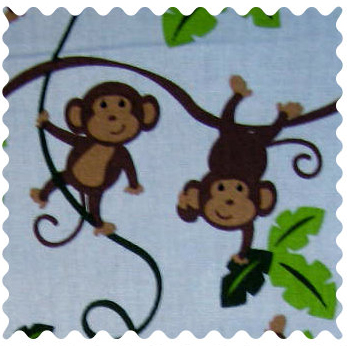 Fabric Shop - Monkey Vine Fabric - Yard - 100% Cotton Percale - Character Prints - Kid Characters Fabric Shop