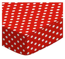100% Cotton Woven - Primary Polka Dots Round Crib Sheets