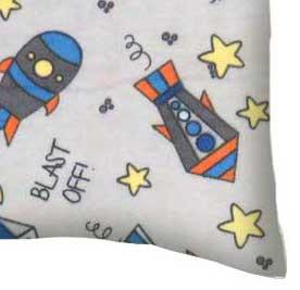 Flannel Pillow Case - Rocket Ships Grey