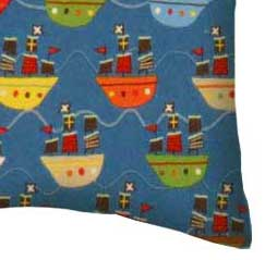 Flannel Pillow Case - Pirate Ships Blue