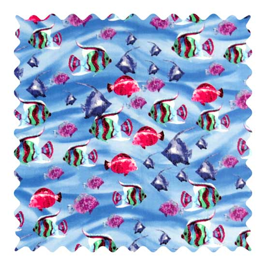 Exotic Fish Blue Fabric - 100% Cotton - 14 x 36 inches