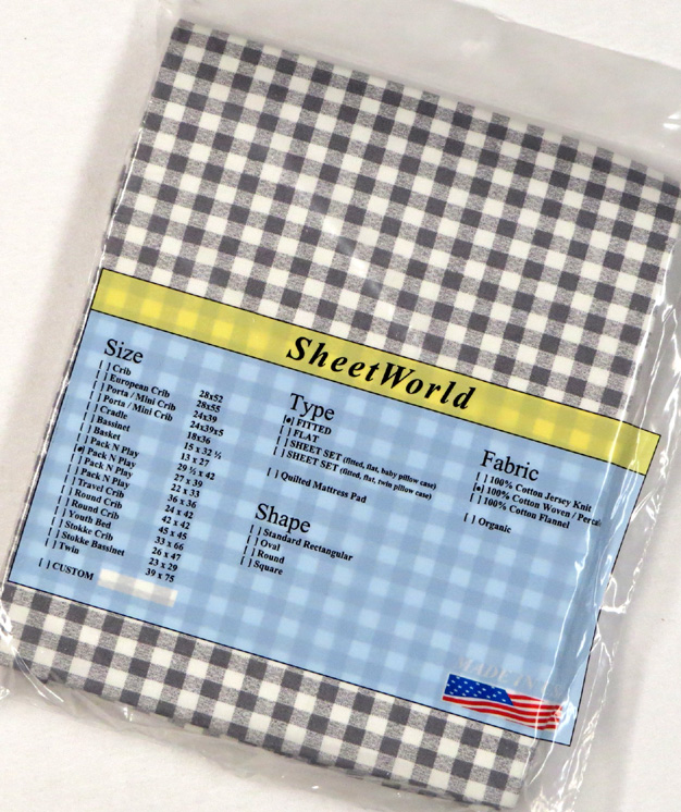 Gray gingham - Cotton Fitted Pack N Play Sheet - Fits Graco - 27 x 39