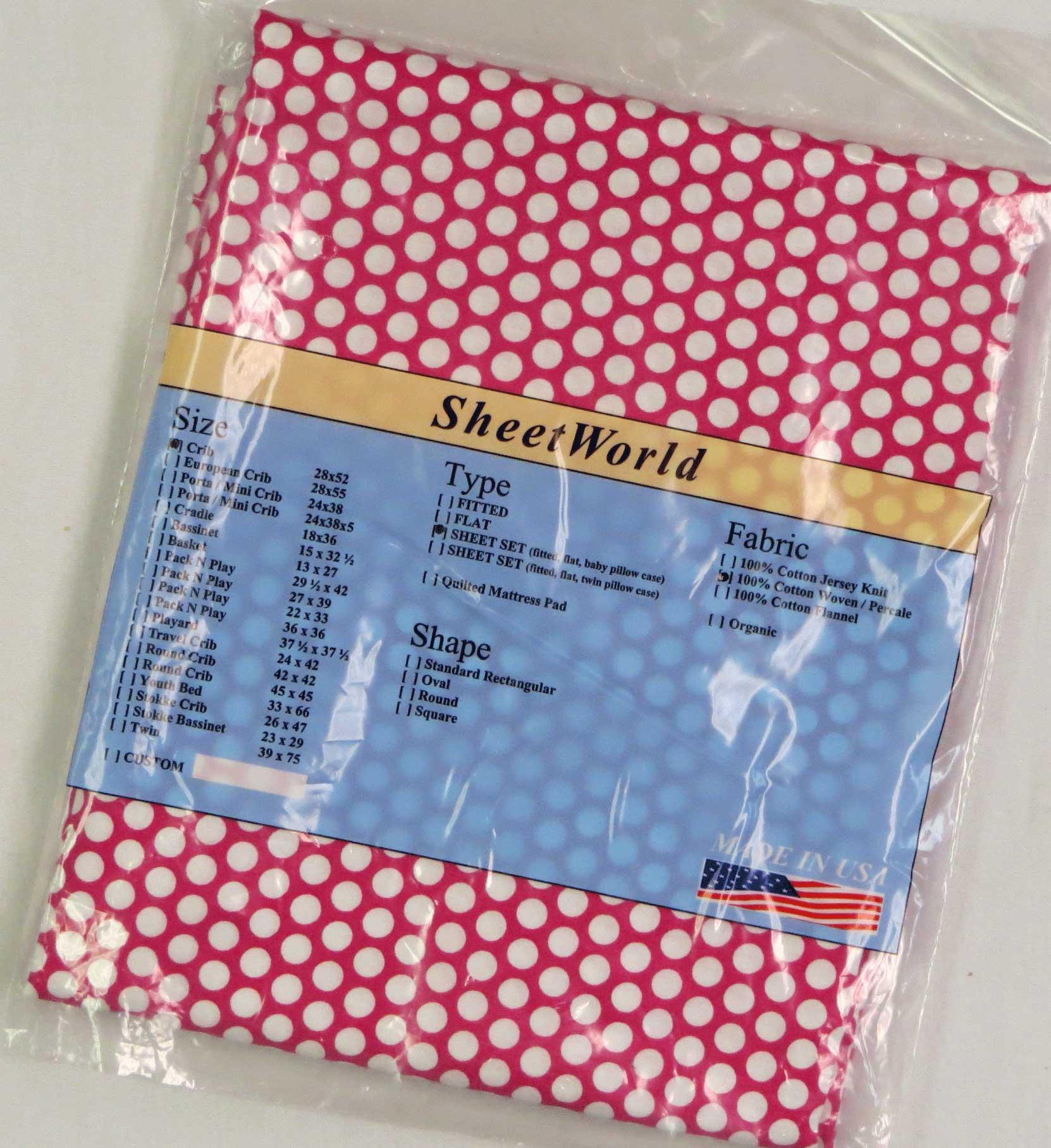 Dots Pink Cotton FLAT / TOP Crib Sheet - 68 x 44