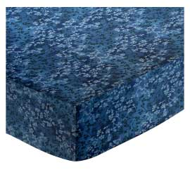 Cradle - Denim Blue Floral - Fitted - 100% Cotton Percale - General Prints Cradle Sheets