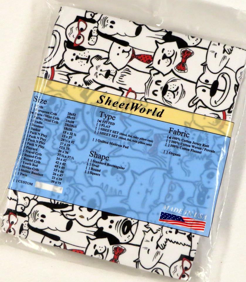Doggies Cotton Jersey Portable / Mini Crib Sheet - 24 x 38