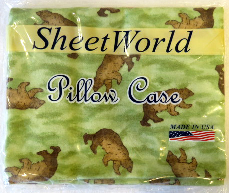 Brown Bear Camo Cotton Flannel Baby Pillow Case