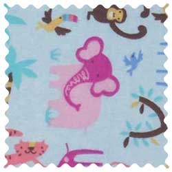 Jungle Animals Blue Fabric