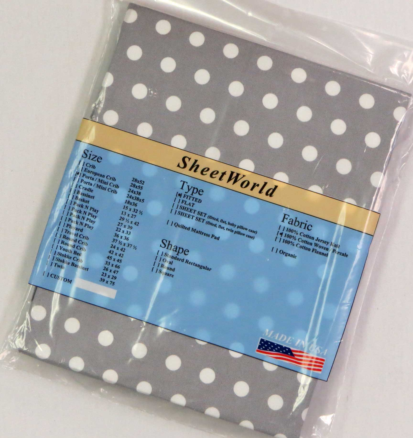 Dots Grey Cotton Portable / Mini Crib Sheet - 24 x 38