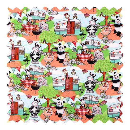 Animal Picnic Fabric - 100% Cotton - 34 x 41 inches