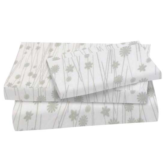 Grey Floral Stems Cotton Woven Twin