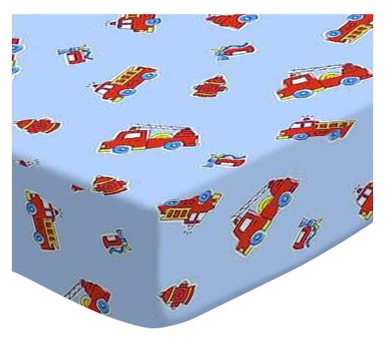 Oval (Stokke Mini) - Fire Engines Blue - Fitted Oval - 100% Cotton Percale - Baby Transport Oval Sheets