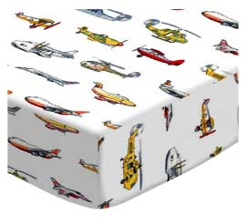 European Crib - Air Traffic - Flat - 100% Cotton Percale - Baby Transport European Crib Sheets