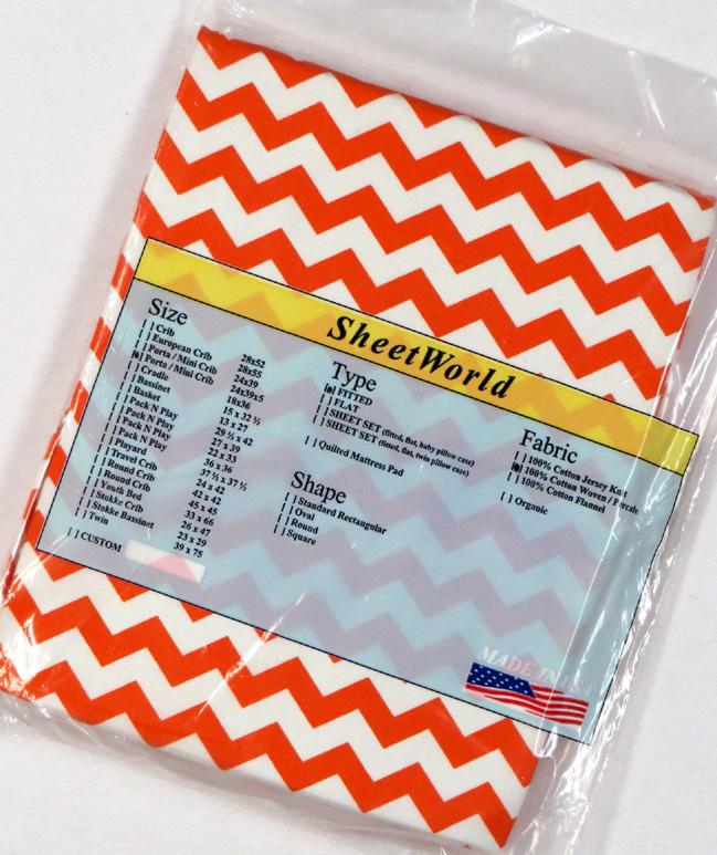 Orange Chevron Extra Deep Cotton Portable / Mini Crib Sheet - 24 x 38 x 5.5