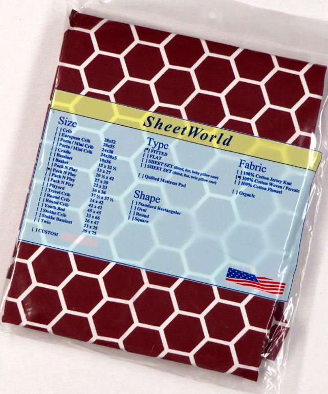 Burgundy Honeycomb - Cotton Fitted Pack N Play Sheet - Fits Graco - 27 x 39