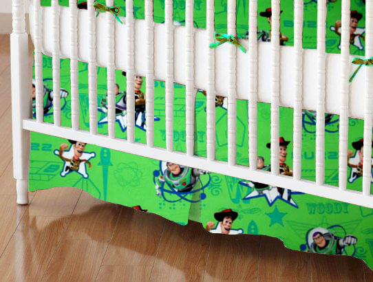Mini Crib Skirts - Mini Crib Skirt - Buzz Light Year Green - Tailored - 100% Cotton Percale - Character Prints - Kid Characters Mini Crib Skirts