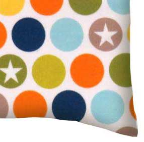 Flannel Pillow Case - Colored Dots & Stars