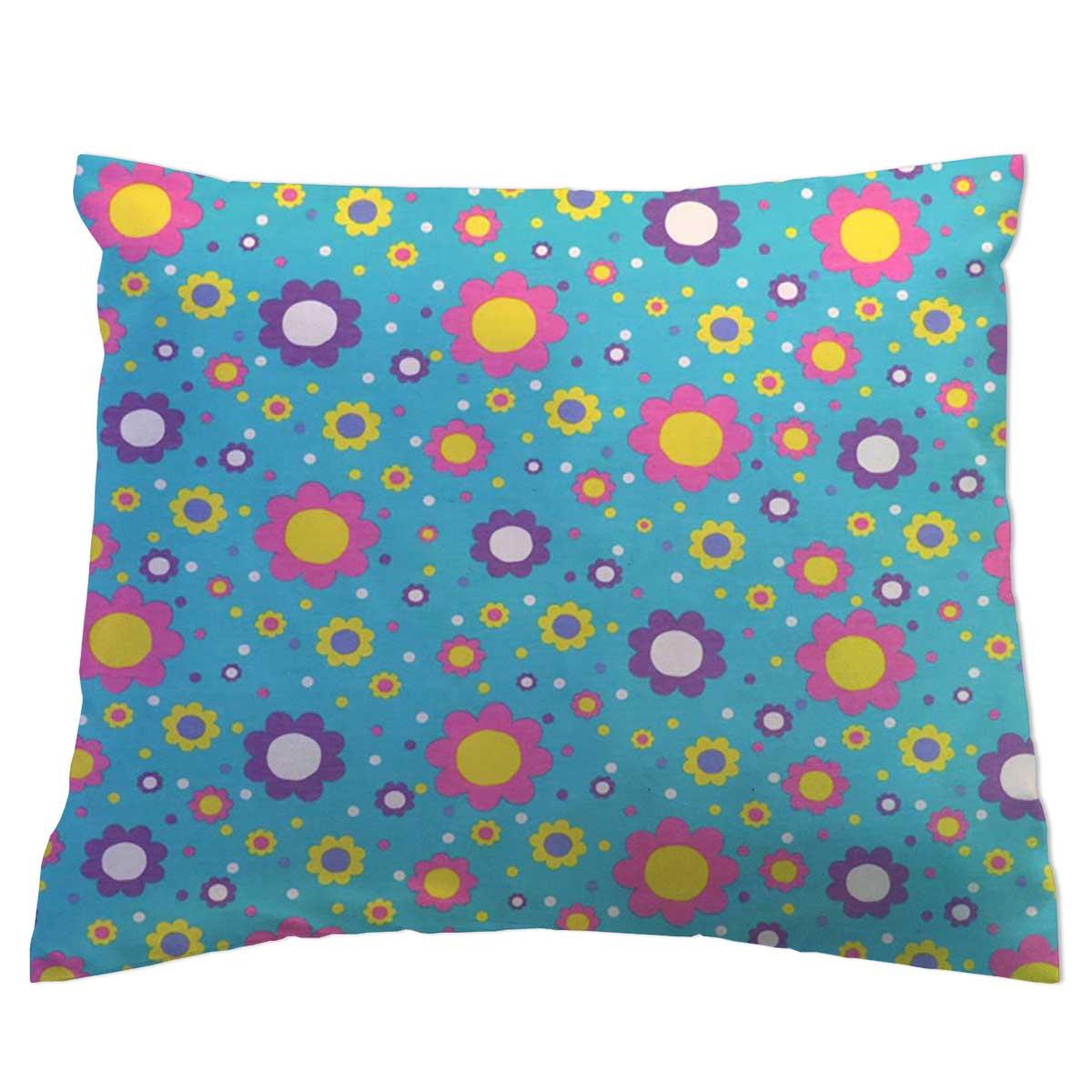 Twin Pillow Case Floral Aqua Jersey Knit Twin Pillow