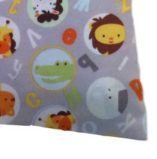 Flannel Pillow Case - ABC Animals Gray