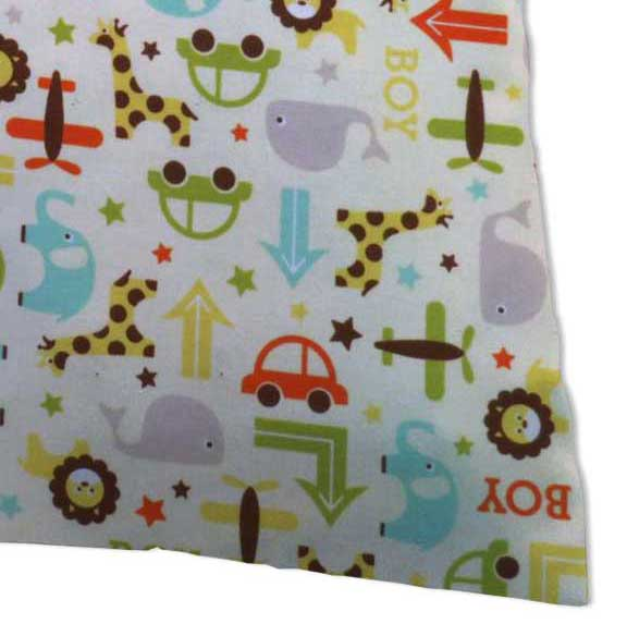 Baby Pillow Case - Cars & Animals Cream