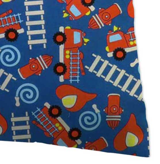 Percale Pillow Case - Fire Trucks Blue