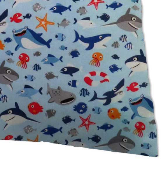 Percale Pillow Case - Sharks Blue