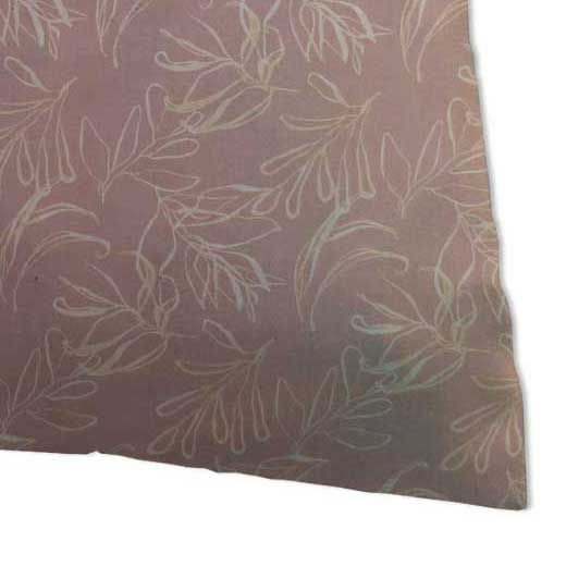 Percale Pillow Case - Mauve Leaves