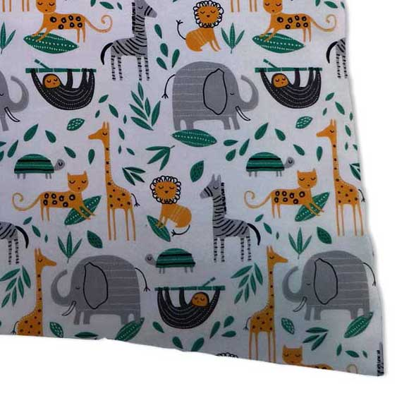 Percale Pillow Case - Modern Jungle Animals
