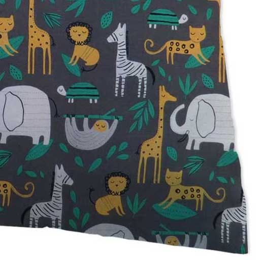 Percale Pillow Case - Jungle Animals Gray