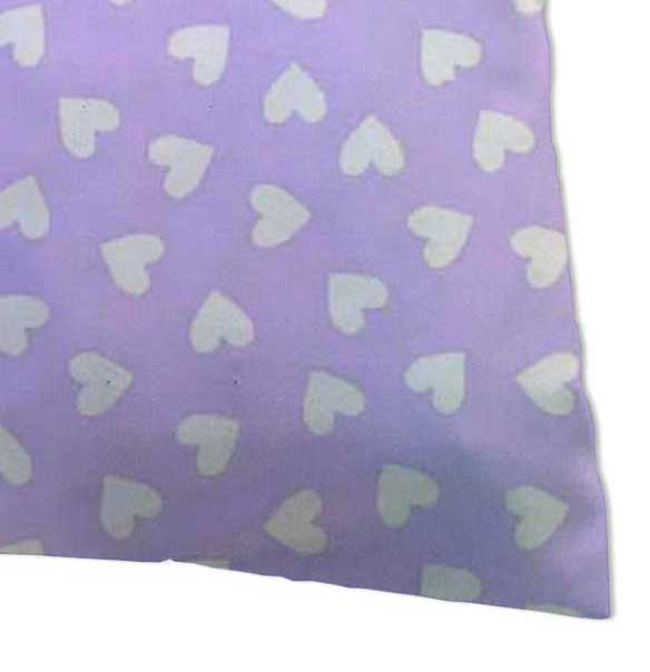 Percale Pillow Cases - Hearts Pastel Lavender Woven