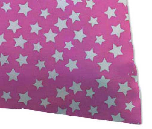 Percale Pillow Cases - Primary Stars White On Pink Woven
