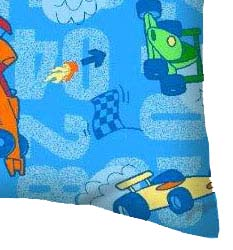 Percale Pillow Case - Race Cars Blue