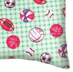 Flannel Pillow Case - Sports Green Grid