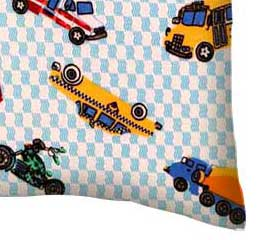 Flannel Pillow Case - Vehicles Blue