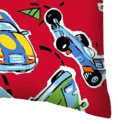 Percale Pillow Case - Race Cars Red
